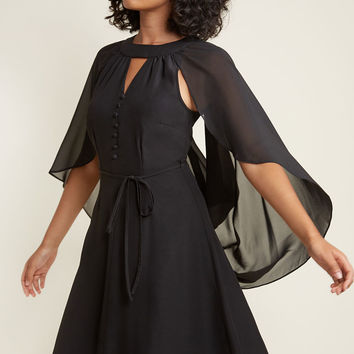 Icing on the Cape A-Line Dress in Black