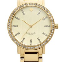 Women's kate spade new york 'gramercy grand' pave bezel bracelet watch, 38mm - Gold
