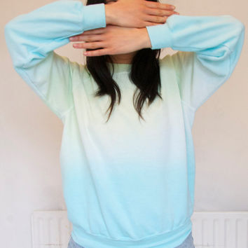 Mint Turquoise Ombre Dip Dye Sweater Jumper size Small & Medium