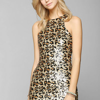 Glamorous Leopard Sequin Bodycon Dress - Urban Outfitters