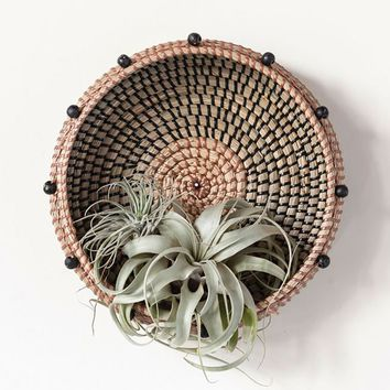 """Round Woven Seagrass Basket with Beads - 2.25"""" Tall x 10.5"""" Wide"""