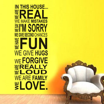 In this house we do - House Rules - PLUS free test decal - Vinyl Decal Wall Art