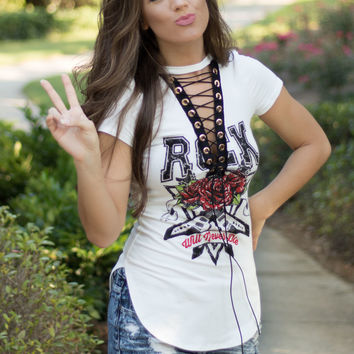 Rock Will Never Die Lace-Up Top