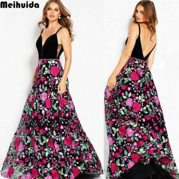 Women Maxi Boho Floral Summer Floral V-neck Backless Fashion Party  Print Cotton Patchwork Dress Summer Clothing