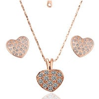 Rhinestone Heart Necklace And Earrings