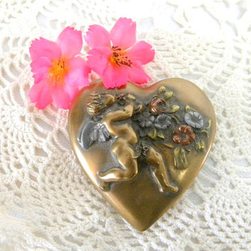 Brass heart paperweight with cupid vintage paperweight early 20th century