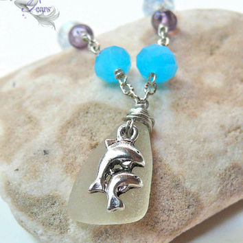 Sea Glass Anklet, dolphin ankle bracelet from Hawaii, Hawaiian jewelry by Mermaid Tears