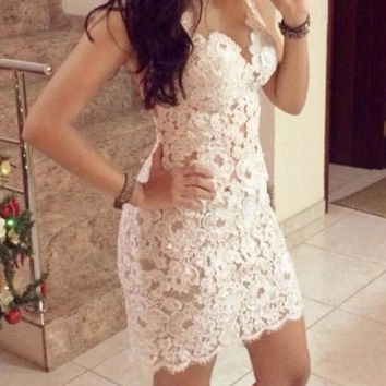 White Mesh Panel Lace Mini Dress