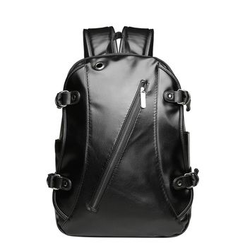 PU Leather Zipper Backpack Large Anti Theft With Usb Charger Laptop Unisex School Bag Shoulder Knapsack Waterproof Bag Mochila