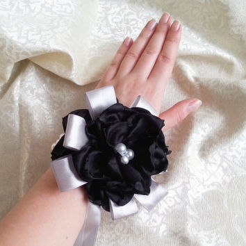 Wrist Corsage, Black chiffon satin silver flower, bridesmaid Corsage hand made silk flower faux pearls bracelet