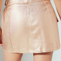 UO Parker Metallic Zipper Mini Skirt | Urban Outfitters
