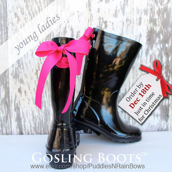 Girls Custom Monogram Black Gloss Rain Boot with Bow