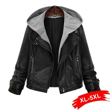 Plus Size Hooded Pu Leather Jacket Coat Short Black Motorcycle Hoody Jacket 4Xl 5Xl Classic Basic Winter Jacket Women Outwear