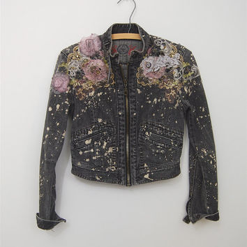 upcycled denim jacket / ombre dyed lace bleached / small