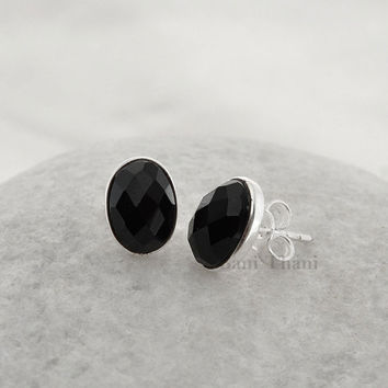 Black Onyx Oval 7x10mm Faceted Gemstone 925 Sterling Silver Stud Earring Jewelry- #6774