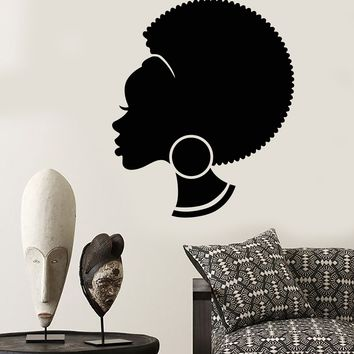 Vinyl Wall Decal Abstract African Woman Hairstyle Black Girl Stickers (2282ig)