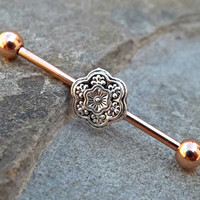 Gold Barbell  Silver Flower Industrial 14ga Surgical Steel Barbell Upper Ear Body Jewelry