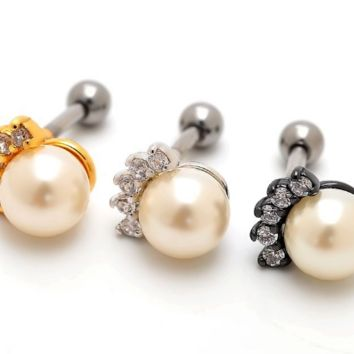 Simple design pearl and zircon earrings Stainless steel antiallergic tragus Earring body jewelry -0428-Gifts box