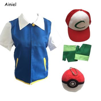 Anime High Quality  Ash Ketchum Cosplay Costumes Pocket Monster Cosplay Blue Jacket Gloves Hat Ash Ketchum Ball Boys MenKawaii Pokemon go  AT_89_9