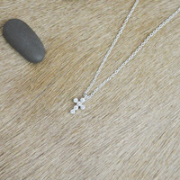 A-189 Cubic cross necklace, Zirconia, Simple Necklace, Modern necklace, Silver plated/ Bridesmaid gifts / Everyday jewelry /