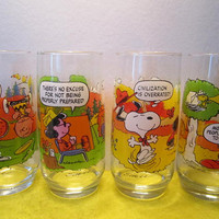 Camp Snoopy Set of 4 Drinking Glasses.