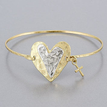 SALE  $13.00   WAS  $18.00    Brushed Gold Copper Patina Heart & Cross Design Love Inspired Vintage Bracelet