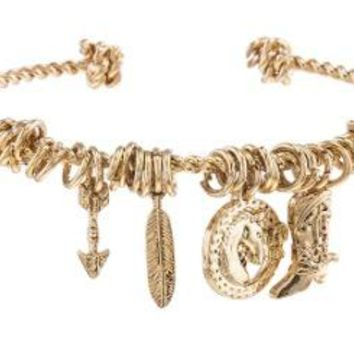 Western Theme Charm Rope Cuff Bracelet - Gold-Plated