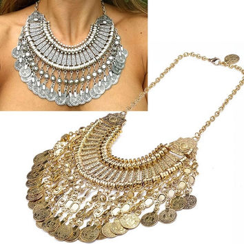 2015 new design bohemian style jewelry fashion vintage alloy metal tassel pendant turkish coin necklace for women SV010027 = 1928627652