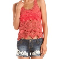 Dotted Mesh Back Crochet Tank: Charlotte Russe