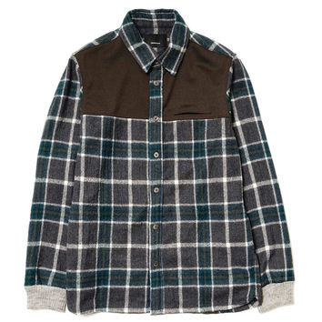 Wool Flannel x Polyester Ribbed Cuff Shirt Gray