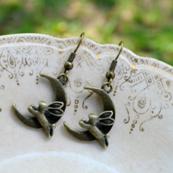 Bunnies Jumping Over the Moon Earrings by cynicalredhead on Etsy