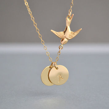 GOLD BIRD NECKLACE, Two Initial Necklace, Love Bird, Family Necklace, Monogram, Initial Charm, Flying Bird, Family Bird