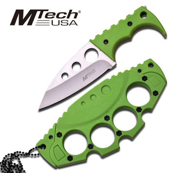 Mtech 5 Inch Fixed Blade Neck Knife with Knuckle Design Sheath - Green