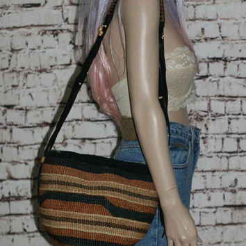 80s Woven Sisal Tote Bag Suede Leather Black Brown Purse Shoulder Market Fringe Jute Boho Hipster festival 70s
