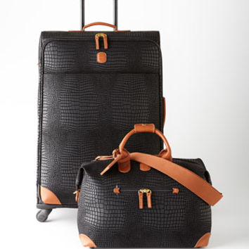 Brics Black Crocodile-Embossed Safari Luggage