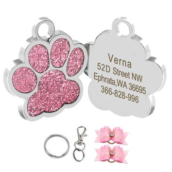 Glitter Paw Print Custom Pet ID Tags for Small Medium Large Dogs and Cats, 1 PC