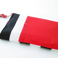 13 inch  MacBook or Laptop sleeve / Laptop bag, with attachable strap - Black Stripe Canvas Red  Strap Closure, Unique Design of BagyBag