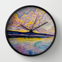 Sunrise on the Comox Glacier Wall Clock by Morgan Ralston