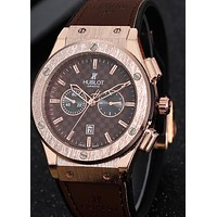 Hublot men and women tide brand fashion casual fine watch F-PS-XSDZBSH Brown wristwatch + gold case + brown dial