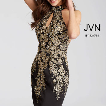 Jovani JVN54515 Halter Top Dress with Floral Appliqué
