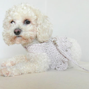Harness, Dog Harness Dress, Pet Harness, Matching leash, Pet Clothing, Crochet Dog Clothes