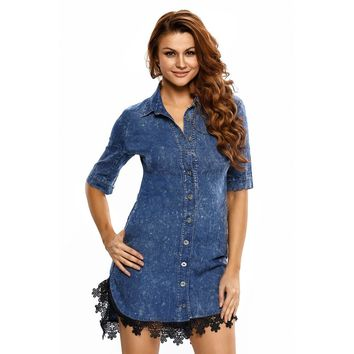 Fashion Women Lace Trim Button Down Denim Shirtdress