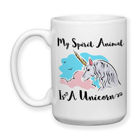 Coffee Mug, My Spirit Animal Is A Unicorn Pink Blue Believe In Unicorns Unicorn Art, Gift Idea, Large Coffee Cup 15 oz