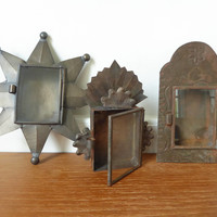 Three tin nicho shadow box ornaments with glass fronts, tiny glass front wall display boxes