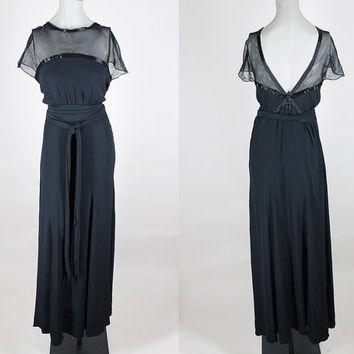 Vintage 30s Dress / 1930s Satin Crepe and Beaded Mesh Long Evening Gown M