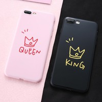 For iPhone 6 6S 7 8 Plus Case Silicone Cute Couple Queen King Pattern Fashion Phone Case For iPhone X 10 6 S Plus Cover Girl Boy