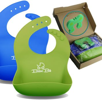 Premium Silicone Baby Bibs, Soft & Waterproof by Bébé Earth - GREEN & BLUE For Boys & Girls   With WIDE Food Catcher That Always Keeps Its...