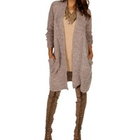 Sale-taupe Collarless Duster Cardigan
