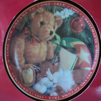 Christmas Plate by American Greetings Fine Porcelain Plate 1993 Teddy Bear with Sleeping Cat Under the Tree Great Christmas Gift