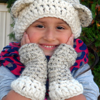 Bear Slouchy Hat and Mitt Set